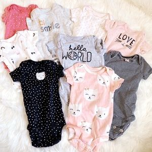 9 short-sleeved onesies bundle
